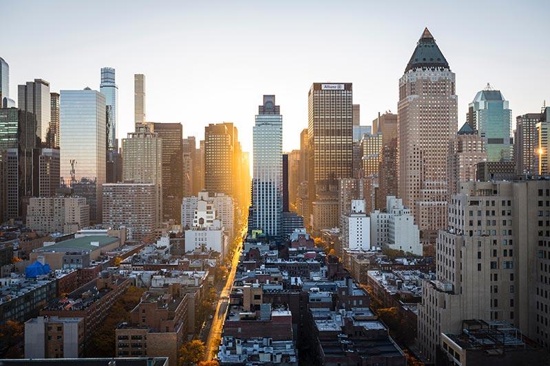 Foto del distrito financiero de Nueva York. Los valores de bolsa son un ejemplo de creación de valor mediante la inversión de capital.