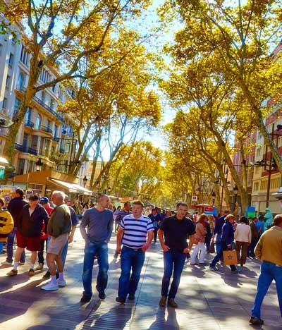 People strolling along Las Ramblas in Barcelona.