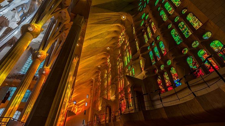 Vidrieras de la Sagrada Familia en Barcelona.
