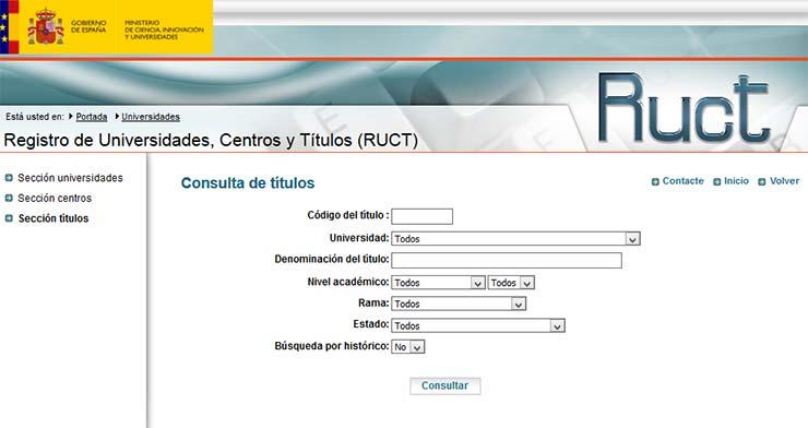Menú de búsqueda del Registro de Universidades, Centros y Títulos (RUCT) del Ministerio de Educación de España)